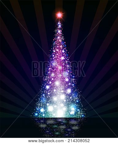 Christmas violet tree on a black background with reflection and lots of brilliance
