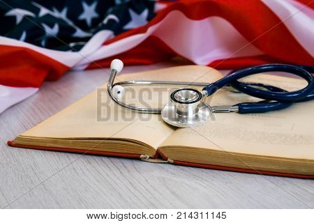 Close-up Photo Of Stethoscope On American Flag