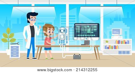 Handsome teacher help little boy with programming and creating smart robot. Courses at modern office classrom for kids. Vector illustration