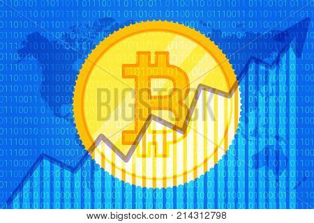 Bitcoin Trade Cryptocurrency. Growth Graph On Code Background For News. Chart Up. Vector