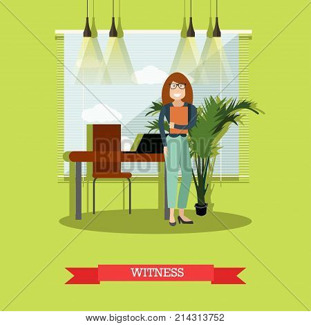 Vector illustration of witness female waiting to provide testimonial evidence in court. Flat style design.