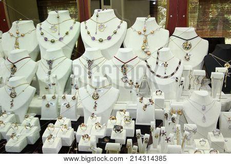 Exhibition with precious ornaments for kopeck pieces gold diamonds