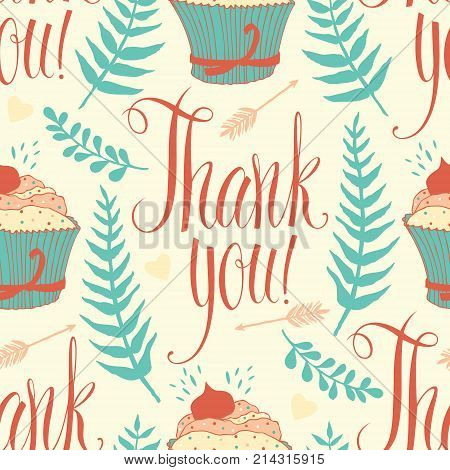 Thank you background with cupcake arrows calligraphy and ferns