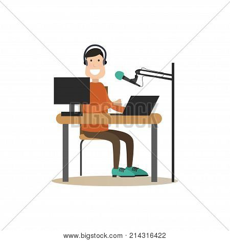 Vector illustration of radio dj male in headphones working in front of microphone and computer at radio studio. Radio people flat style design element, icon isolated on white background.