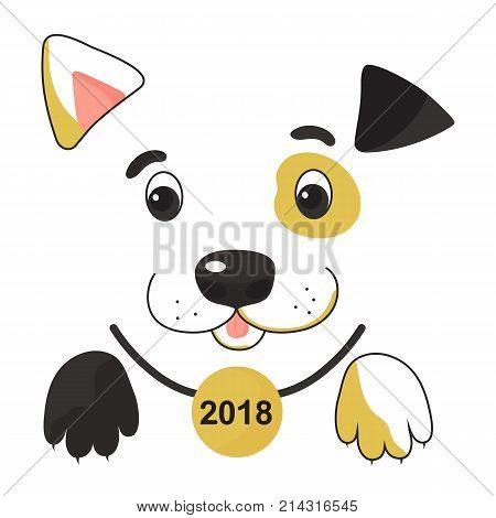 Funny spotted yellow dog in a collar with a medal. Symbol of the Chinese New Year 2018