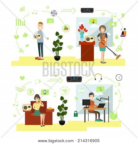 Vector set of people listening to radio station, calling in radio studio and dj or presenter of radio programme taking live phone calls. Flat style design symbols, icons.
