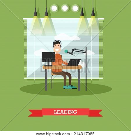 Vector illustration of radio presenter or dj male in headphones working in front of microphone and laptop at radio studio. Leading of radio station or programme concept flat style design element.