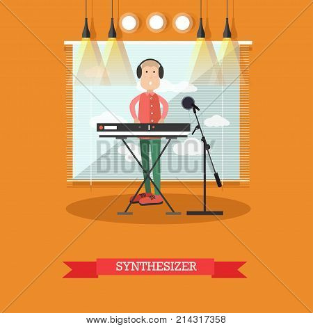 Vector illustration of musician in headphones playing synthesizer at radio studio. Music for radio flat style design element.