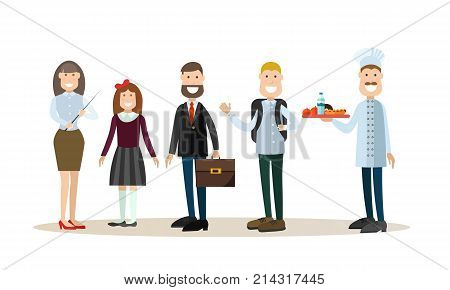 Vector illustration of school principal, teacher, cook and schoolchildren. School people concept flat style design elements, icons isolated on white background.