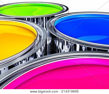 3D rendering of colorful paint pots against white