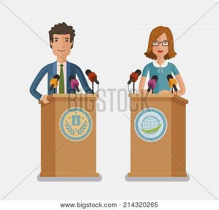 Orator speaking from tribune. Press conference, interview concept. Vector flat illustration