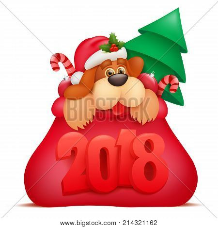 New Year invitation card template with dog cartoon character in santaclaus bag. Vector illustration