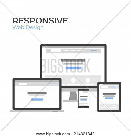 Concept Responsive Web Design. Landing page preview on gadgets screen. Flat vector illustration isolated on white