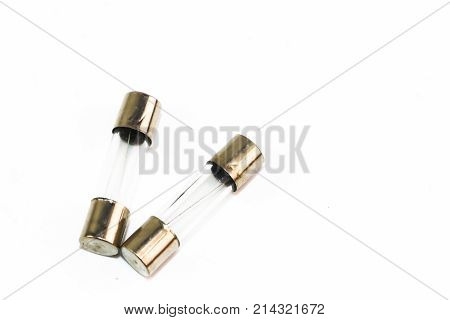 Small Fuse With Silver Head On Whte Background
