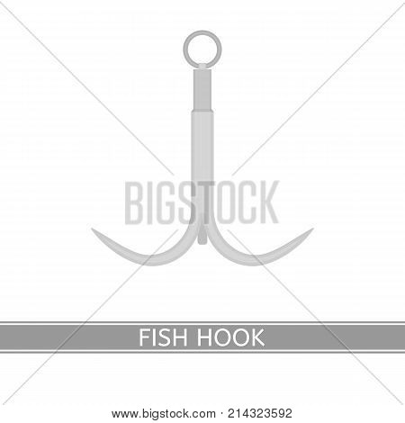 Vector illustration of fish hook isolated on white background. Fishing hook in flat style.
