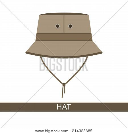 Vector illustration of camping safari hat isolated on white background. Explorer travelers hat for hunting, hiking, tourism in flat style