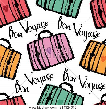 Bon Voyage Background with colorful suitcases and lettering