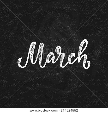 Handwritten names of months: March. Calligraphy words for calendars and organizers. Calligraphy words for calendars and organizers. Vector