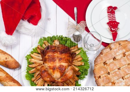 Roasted Whole Chicken And Apple Pie With Christmas Dinner