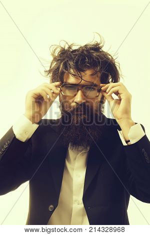 young handsome bearded man crazy genius scientist or professor in glasses with long beard and hair isolated on white background poster