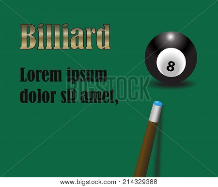 billiard cue aiming on black billiard ball number eight on green background with golden and black sign vector illustration