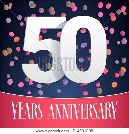 50 years anniversary vector icon logo. Template design banner with festive background and cut out numbers for 50th anniversary greeting card