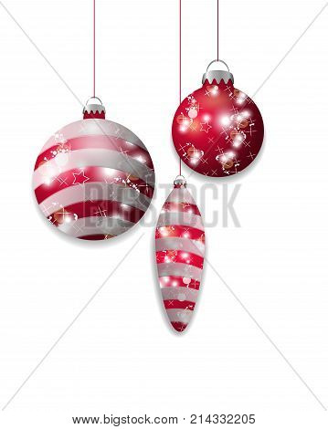 Three red hanging Christmas baubles. Decorative elements isolated on white background for holiday design. Vector illustration.