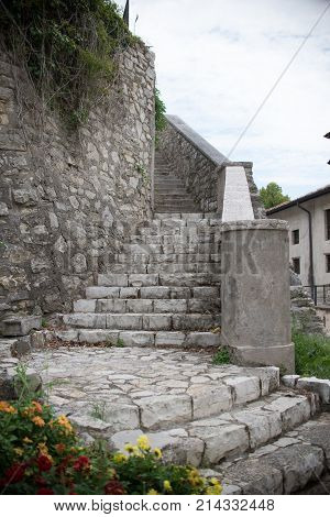 Close up on old ancient medival stone stairs