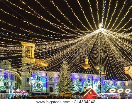 2017 Christmas market in Sibiu main square Transylvania Romania