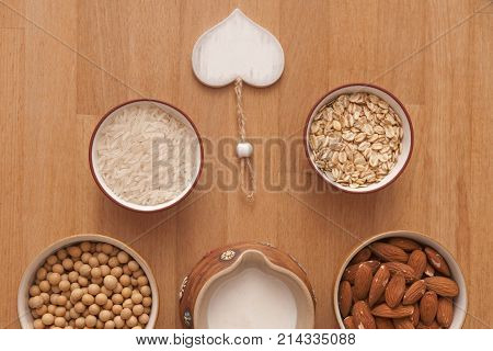 It is image of plant milk and ingredients on it