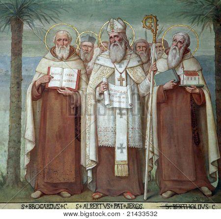 Saint Brocardus, Albert of Jerusalem and Berthold, Saints, The Church Stella Maris, Haifa, Israel poster
