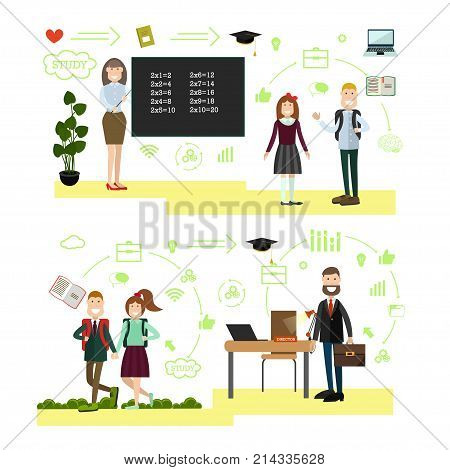 Vector illustration of teacher female with pointer standing next to chalkboard, students, school principal at his office. School people symbols, icons isolated on white background. Flat style design.