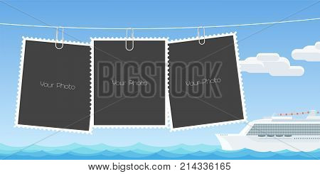 Collage of photo frames vector illustration. Design element of cruise liner in the ocean and templates for pictures as scrapbook or photo album