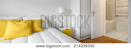 White Bedroom With Bathroom