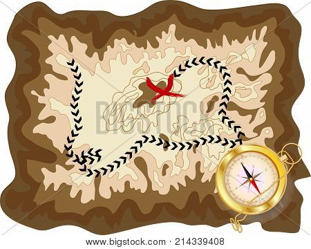 A pirate old map on a yellow parchment with a marked route and a red mark with a golden compass lying on it encrypted messages