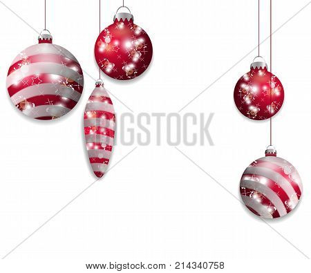 Five Red hanging Christmas baubles. Decorative elements isolated on white background for holiday design. Vector illustration.