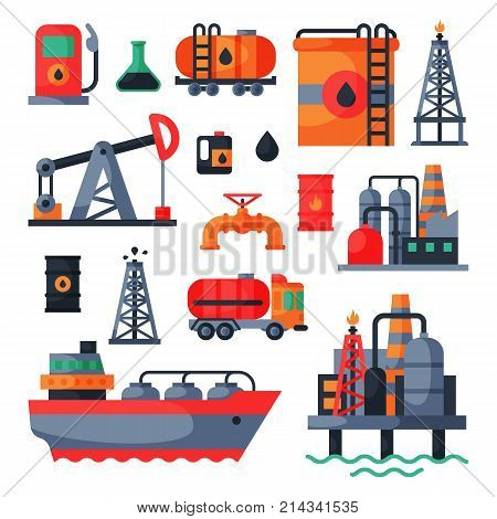 Oil petroleum extraction processing transportation recovery industry refinery fuel gas drilling industrial pump vector illustration. Tanker platform technology.