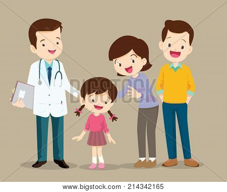Cute Family Visiting The Doctor