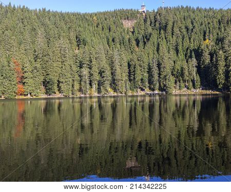 The lake Mummelsee with Hornisgrinde in Seebach, Black Forest, Baden-Wurttemberg, Germany, Europe