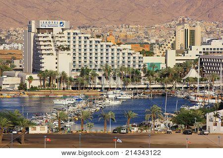 Eilat, Israel - MAY 24: modern hotel King Solomon in popular resort - Eilat of Israel on May 24, 2017 Eilat, Israel. King Solomon Palace Hotel Eilat offers 420 apartments and suites belongs Isrotel