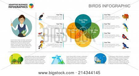 Venn chart with five elements. Cycle diagram, graph, layout. Creative concept for infographics, presentation, project, report. Can be used for topics like education, life, science, birds