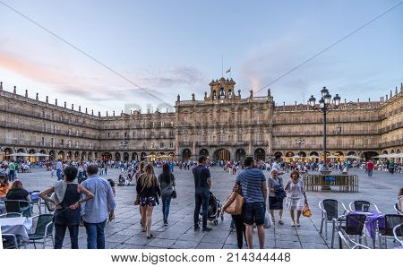 Salamanca Spain. - Sept 2 2017. People gathering in a relaxing atomosphere in the Plaza Mayor of Salamanca.