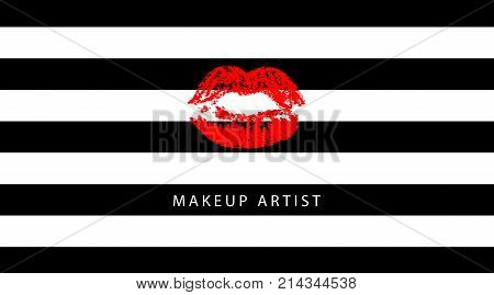 Makeup Artist Business Card Template. Fashion Red Lips Print Of Woman With Black Line Striped Backgr