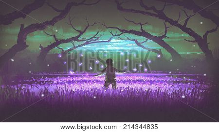 wonderful night scenery showing a boy standing in the garden of purple flowers with glowing insects, digital art style, illustration painting