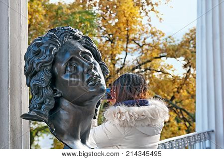 TSARSKOYE SELO, SAINT-PETERSBURG, RUSSIA - OCTOBER 7, 2017: Alexandre The Great bust on The Cameron Gallery, which contains  bronze busts of the Antique deities, heroes and great names of history