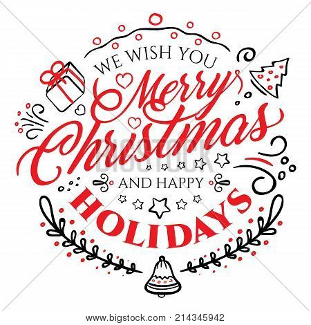 Calligraphic Lettering For Merry Christmas And Happy New Year Isolated On White Background