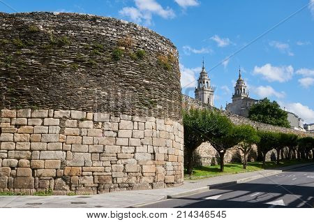 The Roman Wall And The Towers Of The Cathedral Of Lugo (galicia, Spain)