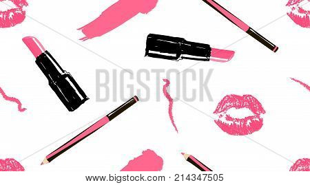 Professional makeup artist background. Vector seamless pattern with lipstick smear and brush makeup pencils lipstick pink lips mouth. Hand drawn fashion art illustration in fashion trendy style.
