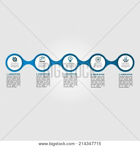 Infographics circular vector banner of 5 steps. Vector pattern illustration of five elements of balls bubbles for business presentations design education.