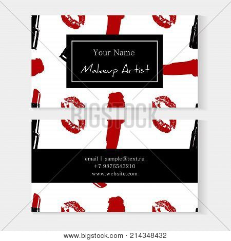Set of makeup artist business cards template with Cosmetics seamless pattern background: red trace kiss lips print and red lipstick smear. Vector beauty illustration. Elegant fashion design cards.